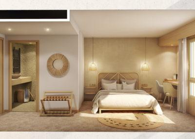 Infographiste 3D Architecture - Perspective 3D de chambre d'hôtel