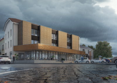 Infographiste 3D Architecture - Perspective 3D hôtel extérieur