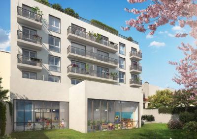 Infographiste 3D Architecture - Perspective 3D immeuble logements jardin