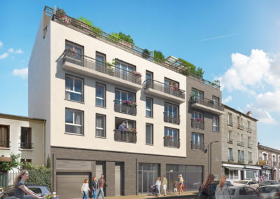 Infographiste 3D Architecture - Perspective 3D immeuble logements rue