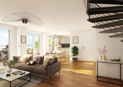 Infographiste 3D Architecture - Perspective 3D intérieure salon salle à manger balcon