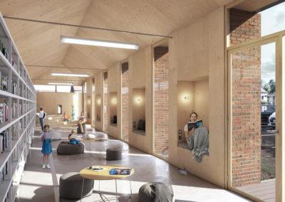 Perspective 3D médiathèque bibliothèque intérieur